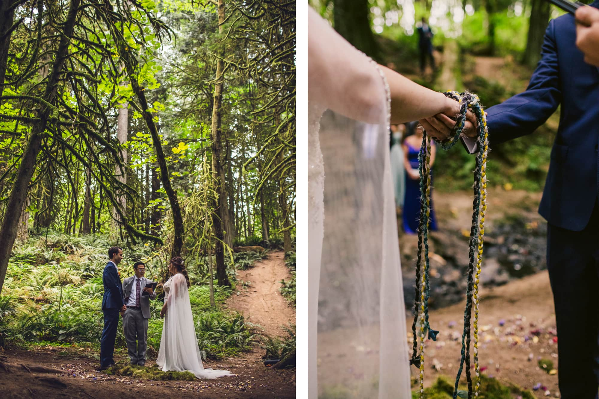 Marriage ceremony in the woods